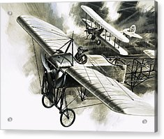 The First Reconnaissance Flight By The Rfc Acrylic Print by Wilf Hardy