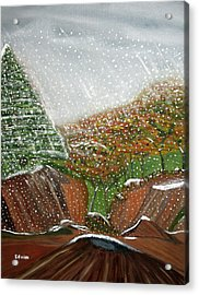 The First Snow Acrylic Print by Edwin Long