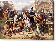 The First Thanksgiving Acrylic Print by American School