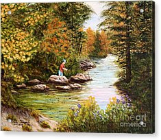 Acrylic Print featuring the painting The Fisher Boy  by Judy Filarecki
