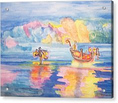 The Fishermen Come Home Acrylic Print by Connie Valasco