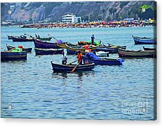 Acrylic Print featuring the photograph The Fishermen - Miraflores, Peru by Mary Machare
