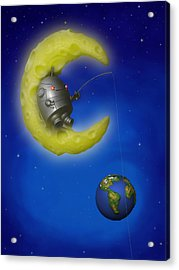 The Fishing Moon Acrylic Print by Michael Knight