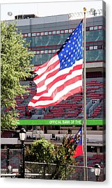 Acrylic Print featuring the photograph The Flag Flying High Over Sanford Stadium by Parker Cunningham