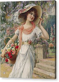 The Flower Girl Acrylic Print by Emile Vernon