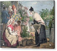 The Flower Market Acrylic Print by John James Chalon