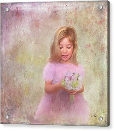Acrylic Print featuring the mixed media The Flower Princess by Colleen Taylor