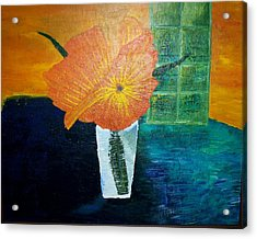The Flowers In The Vase Acrylic Print by Roy Penny