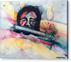 The Flute Player Acrylic Print by Rooma Mehra