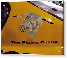 Acrylic Print featuring the painting The Flying Crane by Richard Le Page