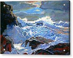 The Foaming Sea Acrylic Print by David Lloyd Glover
