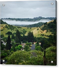 Fog Hovering Over The Reservoir Acrylic Print