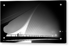 The Foggy Bridge - Dublin, Ireland - Black And White Street Photography Acrylic Print by Giuseppe Milo