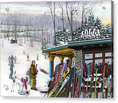 Acrylic Print featuring the painting The Foggy Goggle At Seven Springs by Albert Puskaric