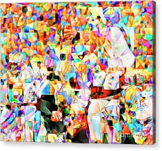 Acrylic Print featuring the photograph The Football Longest Yard In Abstract Cubism 20170328 by Wingsdomain Art and Photography