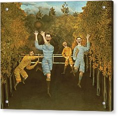The Football Players Acrylic Print by Henri Rousseau