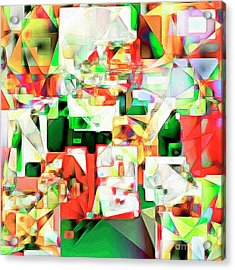 Acrylic Print featuring the photograph The Football Quarterback In Abstract Cubism 20170328 Square by Wingsdomain Art and Photography