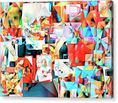 Acrylic Print featuring the photograph The Football Quarterback In Abstract Cubism 20170328c2 by Wingsdomain Art and Photography
