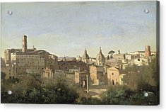 The Forum Seen From The Farnese Gardens Acrylic Print by Jean Baptiste Camille Corot