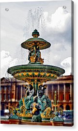 The Fountain At Le Concorde Acrylic Print by Greg Sharpe