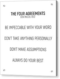 The Four Agreements #minismalism #shortversion Acrylic Print