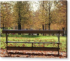 The French Bench And The Autumn Acrylic Print by Yoel Koskas