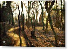 Acrylic Print featuring the digital art The Frightening Forest by Gun Legler