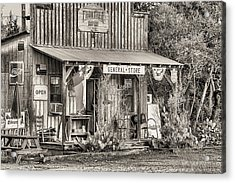 The Frontier Outpost General Store Black And White Acrylic Print by JC Findley