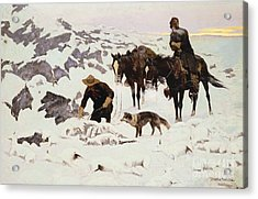 The Frozen Sheepherder Acrylic Print by Frederic Remington