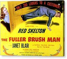 The Fuller Brush Man, Janet Blair, Red Acrylic Print by Everett