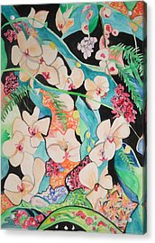 Acrylic Print featuring the painting The Gallery Of Orchids 1 by Esther Newman-Cohen
