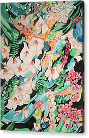 Acrylic Print featuring the painting The Gallery Of Orchids 2 by Esther Newman-Cohen