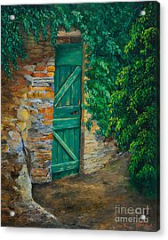 The Garden Gate In Cinque Terre Acrylic Print by Charlotte Blanchard
