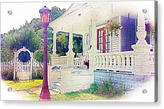 The Gate Porch And The Lamp Post Acrylic Print by Becky Lupe
