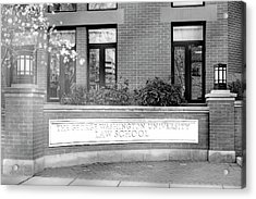 Acrylic Print featuring the photograph The George Washington University Law School Dc Bw by Susan Candelario