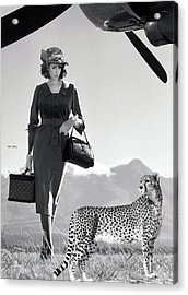 The Getaway, Film Scene Idea, Promotion, Louis Vuitton Luggage, With Her Cheetah Companion  Acrylic Print