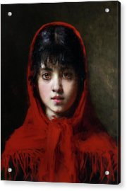 The Girl In The Red Shawl Acrylic Print