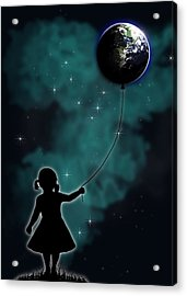 The Girl That Holds The World Acrylic Print by Nicklas Gustafsson