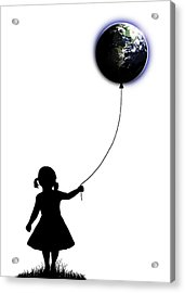 The Girl That Holds The World - White  Acrylic Print by Nicklas Gustafsson