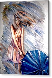 The Girl With A Blue Umbrella Acrylic Print