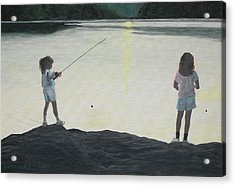 The Girls At The Lake Acrylic Print by Candace Shockley