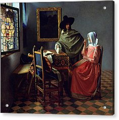 The Glass Of Wine Acrylic Print by Jan Vermeer
