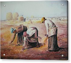 The Gleaners After Millet By My Dad Acrylic Print by Anne-Elizabeth Whiteway