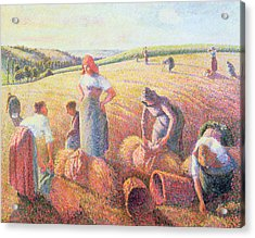 The Gleaners Acrylic Print by Camille Pissarro