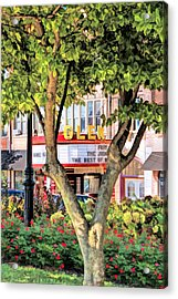 Acrylic Print featuring the painting The Glen Movie Theater by Christopher Arndt