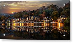 The Glow Of Boat House Row Reflection Acrylic Print