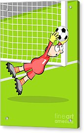 The Goalkeeper Jumps Catching The Ball In His Hands Preventing A Goal Acrylic Print