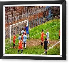 The Goalkeeper Saves A Goal Acrylic Print by John Vito Figorito