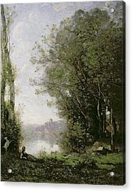 The Goatherd Beside The Water  Acrylic Print by Jean Baptiste Camille Corot