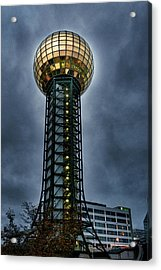 The Gold Ball At The Top Acrylic Print by Sharon Popek